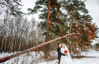 зимняя прогулка, зимние свадебные фотографии, свадьба зимой Подольск